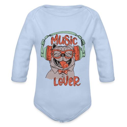 Music Lover - Happy Mops Hundekopf Vintage style - Baby Bio-Langarm-Body