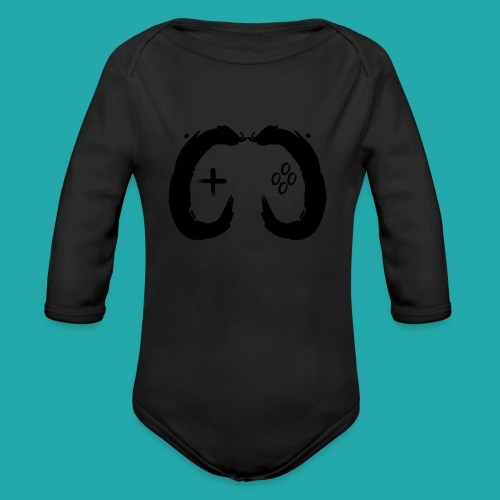 Crowd Control Controller Logo Black Large - Organic Longsleeve Baby Bodysuit