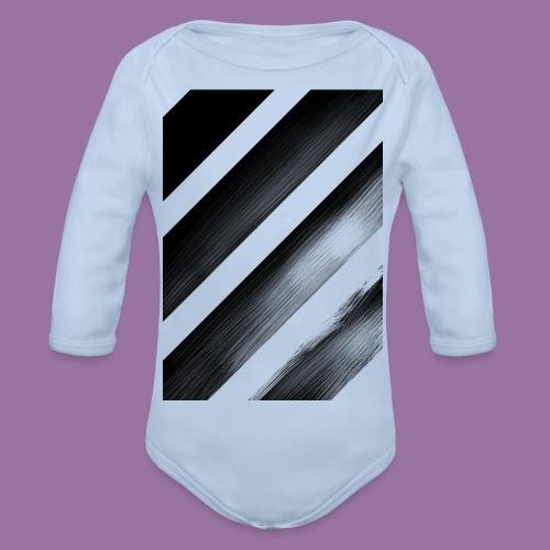 Stripes Diagonal Black - Body ecologico per neonato a manica lunga