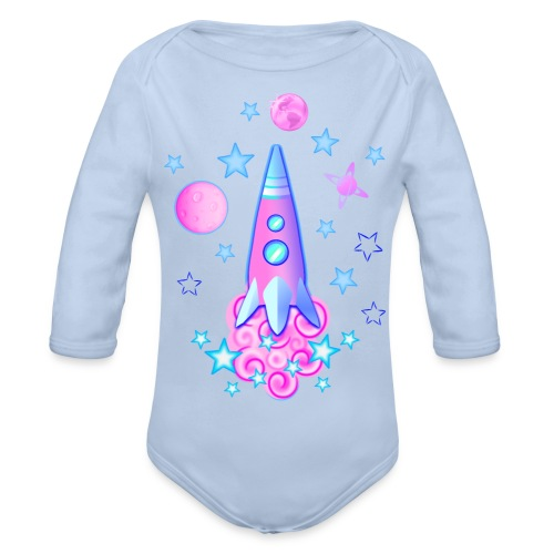 pink space rocket with stars and planets - Organic Longsleeve Baby Bodysuit