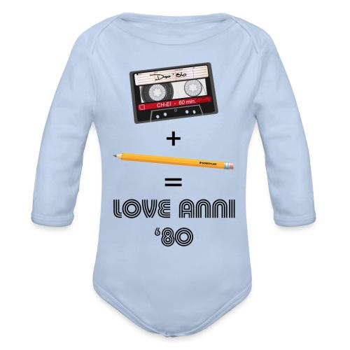 Maglietta love anni 80 - Body ecologico per neonato a manica lunga