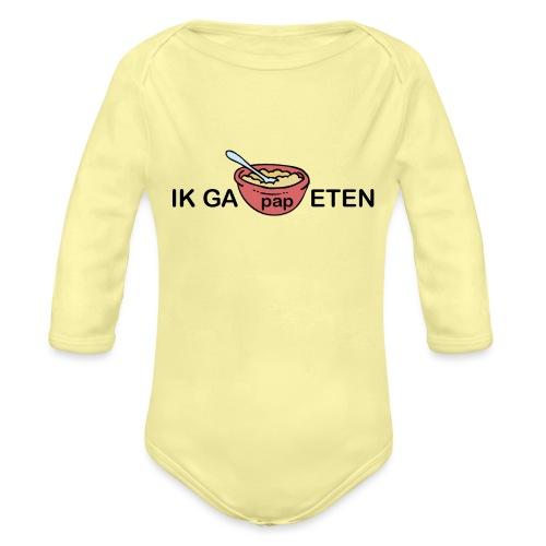 IK GA PAP ETEN - Baby bio-rompertje met lange mouwen