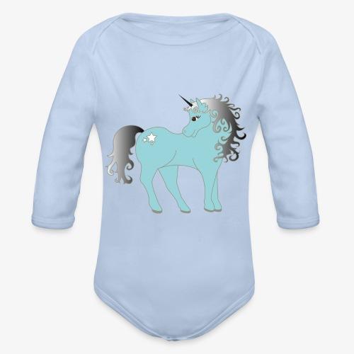 blaues Einhorn - Baby Bio-Langarm-Body