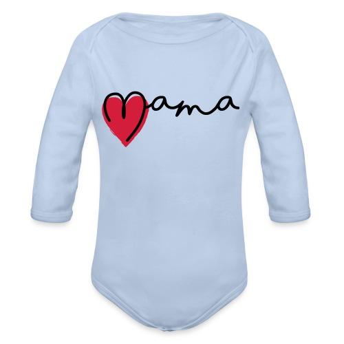 Slogan super mama, Liefde, hartje. Baby cadeau - Baby bio-rompertje met lange mouwen