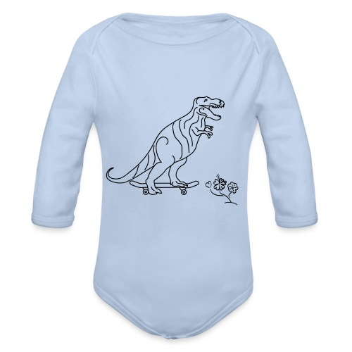 SK8-Rex-schwarz - Baby Bio-Langarm-Body
