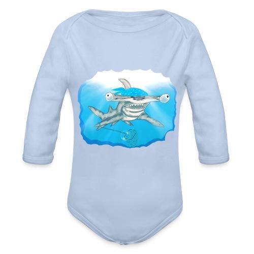 Hunting hammer fish design print - Organic Longsleeve Baby Bodysuit