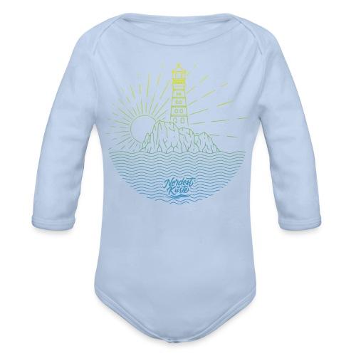 Leuchtturm mit Sonne am Meer - Baby Bio-Langarm-Body