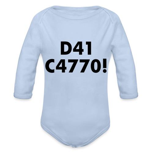 D41 C4770! tradotto: DAI CAZZO! - Body ecologico per neonato a manica lunga
