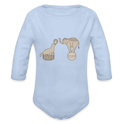 Circus elephant and seal - Organic Longsleeve Baby Bodysuit