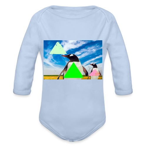 ultra_mega_h--ftig_pingvin_med_yolo_man_swag - Ekologisk långärmad babybody