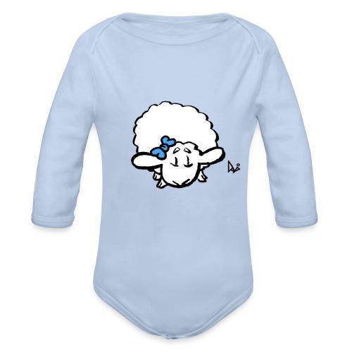 Babylam (blå) - Langærmet babybody, økologisk bomuld