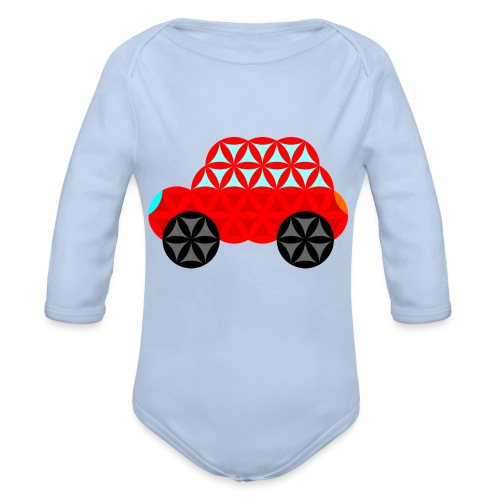 The Car Of Life - M01, Sacred Shapes, Red/R01. - Organic Longsleeve Baby Bodysuit