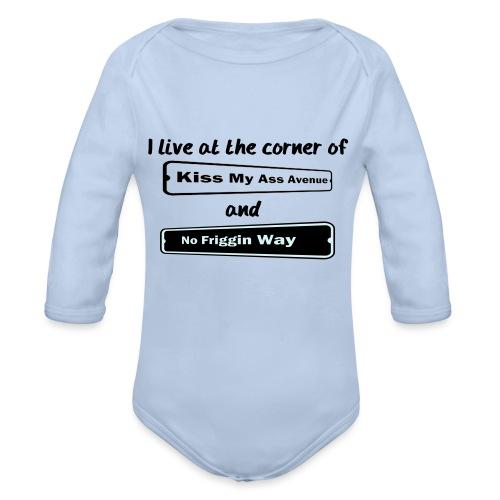 I_LIVE_AT_THE_CORNER_CUT_-2- - Organic Longsleeve Baby Bodysuit