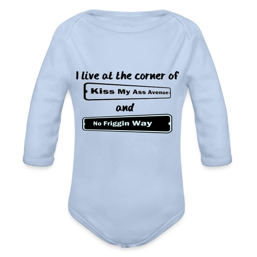 I_LIVE_AT_THE_CORNER_CUT_-2- - Organic Longsleeve Baby Bodysuit