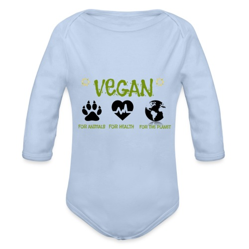 Vegan for animals, health and the environment. - Organic Longsleeve Baby Bodysuit