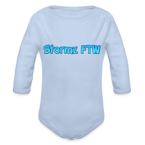Stormz FTW blue and white fade - Organic Longsleeve Baby Bodysuit