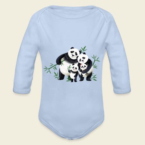 Pandafamilie zwei Kinder - Baby Bio-Langarm-Body