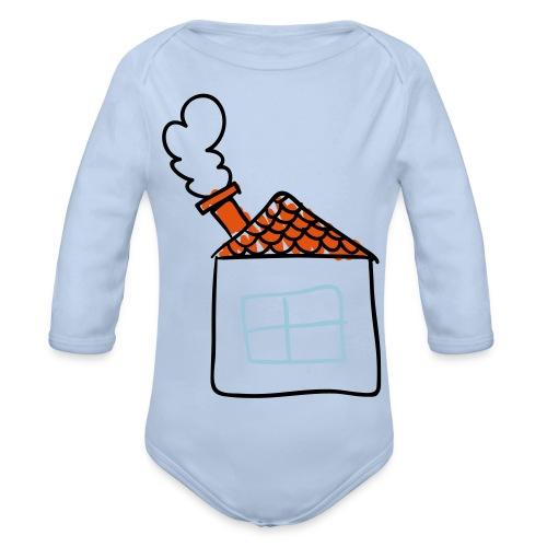 House Childs Drawing Pixellamb - Baby Bio-Langarm-Body