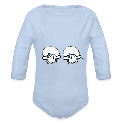 Baby Lamb Twins (blau & blau) - Baby Bio-Langarm-Body