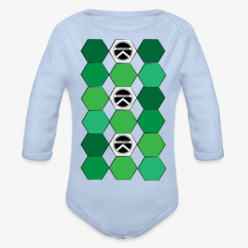 |K·CLOTHES| HEXAGON ESSENCE GREENS & WHITE - Body orgánico de manga larga para bebé