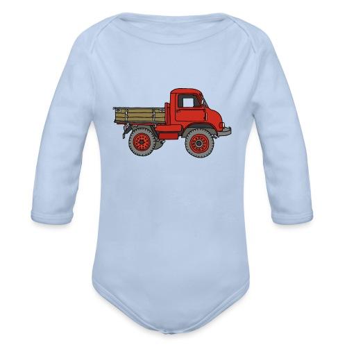 Roter Lastwagen, LKW, Laster - Baby Bio-Langarm-Body