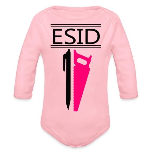 ESID Zwart-roze - Baby bio-rompertje met lange mouwen
