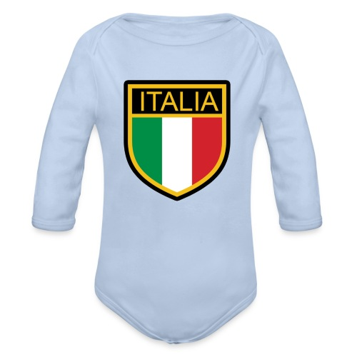 SCUDETTO ITALIA CALCIO - Body ecologico per neonato a manica lunga