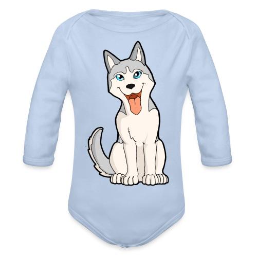Husky grigio occhi azzurri - Body ecologico per neonato a manica lunga