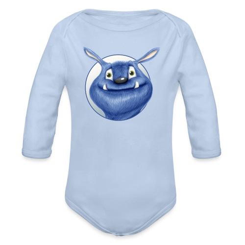 blaues Monster - Baby Bio-Langarm-Body