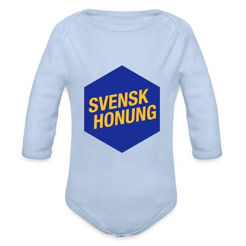 Svensk honung Hexagon Blå/Gul - Ekologisk långärmad babybody