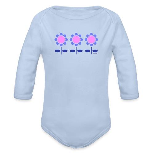 Blue retro flowers - Vauvan pitkähihainen luomu-body
