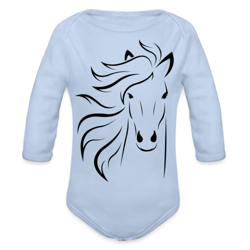 pferd silhouette - Baby Bio-Langarm-Body