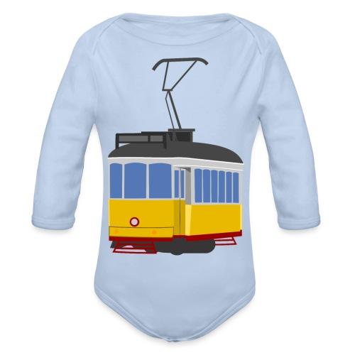 Tram car yellow - Organic Longsleeve Baby Bodysuit