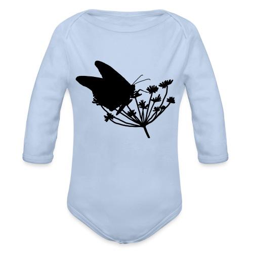 Vlinder bij bloem - Baby bio-rompertje met lange mouwen