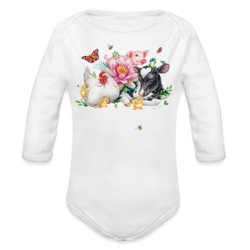 Love animals white text - Organic Longsleeve Baby Bodysuit
