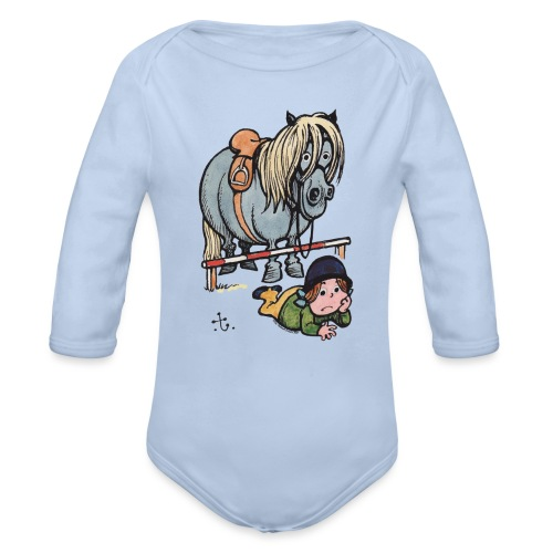 Thelwell Funny Showjumping Gone Wrong - Organic Longsleeve Baby Bodysuit