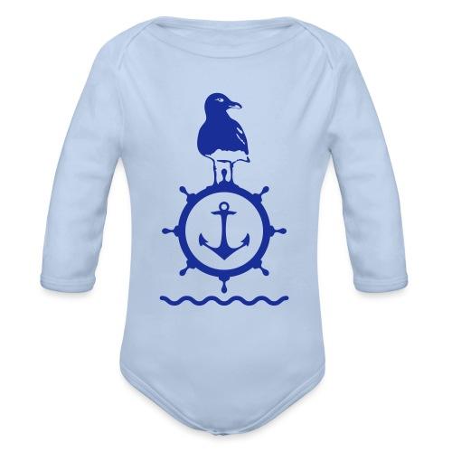 Möwe Steuerrad Anker Wellen Küste Meer Hafen - Baby Bio-Langarm-Body