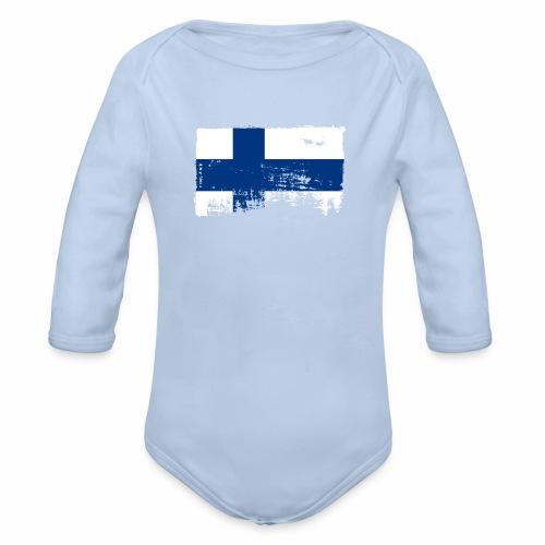 Suomen lippu, Finnish flag T-shirts 151 Products - Vauvan pitkähihainen luomu-body