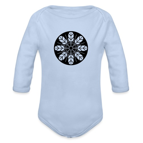 Inoue clan kamon in black - Organic Longsleeve Baby Bodysuit