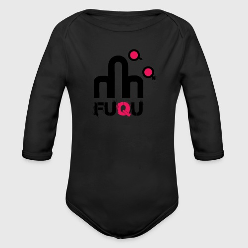 T-shirt FUQU logo colore nero - Body ecologico per neonato a manica lunga
