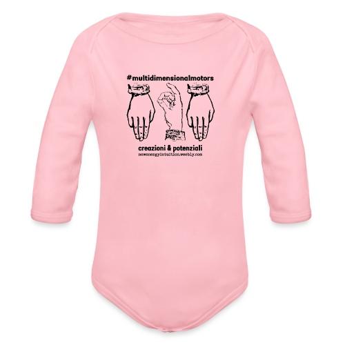 logo #MultiDimensionalMotors con segni mano - Body ecologico per neonato a manica lunga
