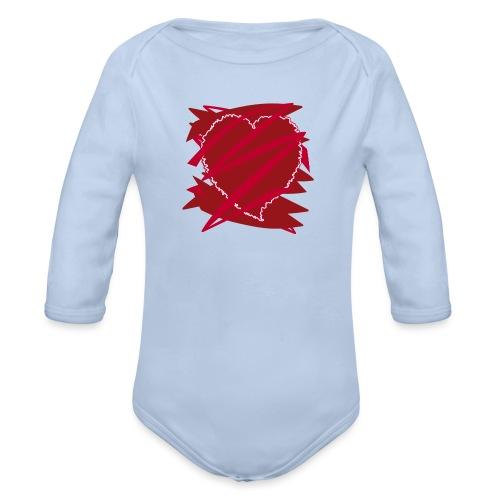 corazón enamorado, corazón roto - Body orgánico de manga larga para bebé