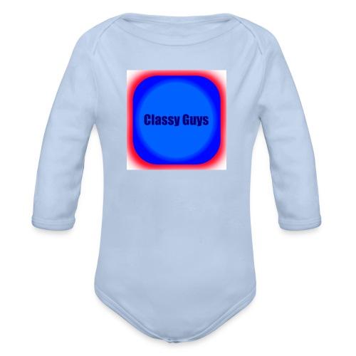 Blue and red logo - Organic Longsleeve Baby Bodysuit