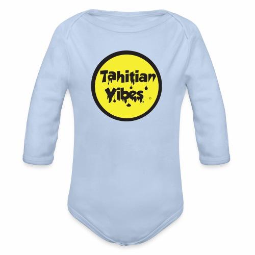 Tahitian Vibes jaune noir rond logo - Body bébé bio manches longues