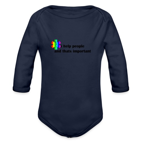 i help people - Baby bio-rompertje met lange mouwen