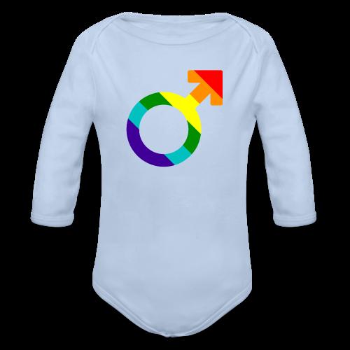 Gay pride regenboog mannen symbool - Baby bio-rompertje met lange mouwen