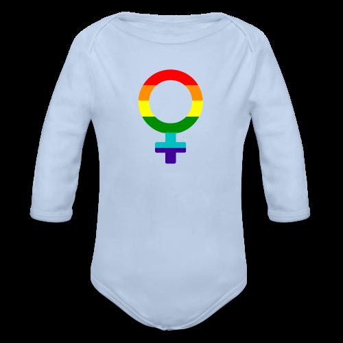 Gay pride regenboog vrouwen symbool - Baby bio-rompertje met lange mouwen