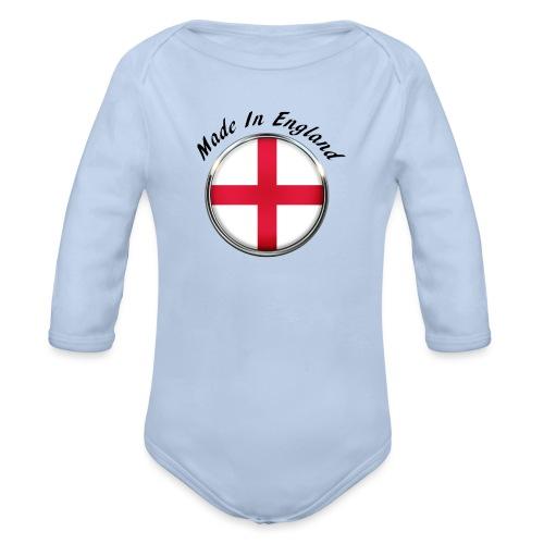 Made In England ( black text ) - Organic Longsleeve Baby Bodysuit