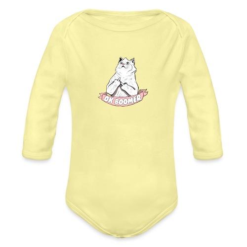 OK Boomer Cat Meme - Organic Longsleeve Baby Bodysuit