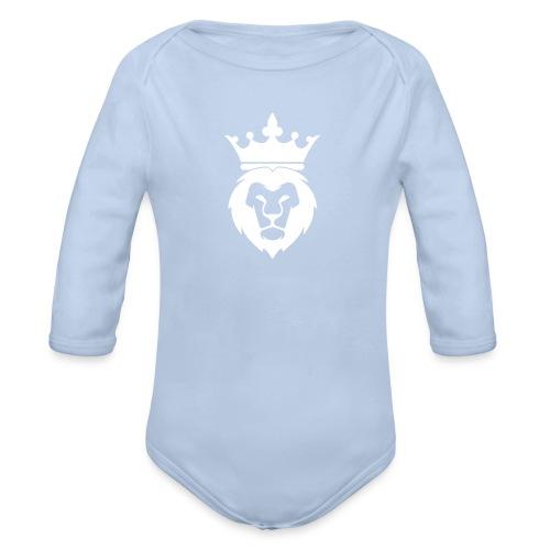Lion_Logo_with_Crown_St--rre_bild_-white- - Ekologisk långärmad babybody